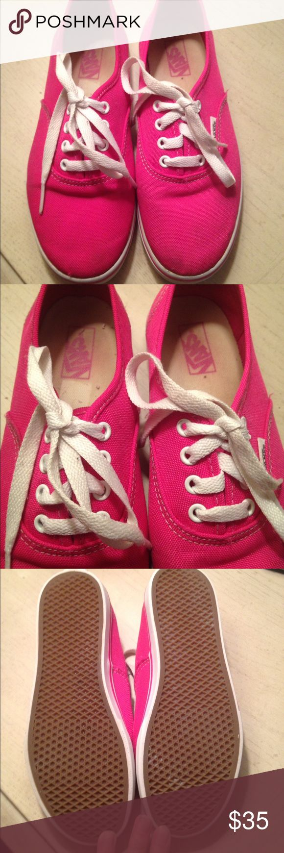 EUC! Hot Pink Vans! Pretty in Pink! EUC! Hot Pink Vans! White laces and stitching! Super cute and perfect for any outfit. The inside show a little wear, but the outsides are in great condition as the pictures show! I paid $50 so I would like to get most of my money back! Pretty in Pink! Size Kids 3.5! Vans Shoes Sneakers