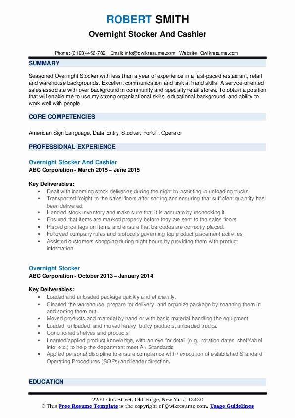 Stocking Job Description Resume Awesome Overnight Stocker Resume Samples In 2020 Engineering Resume Templates Job Resume Template Receptionist Jobs