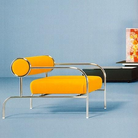 Art Deco Chrome with Bright Yellow Leather Chair.