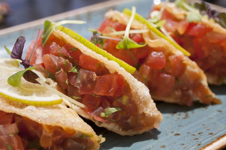 Detail of Buddha Bar sashimi tacos with sea bass & tuna
