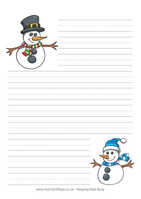 fun snowmen writing paper to print for the kids