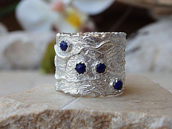 Blue gemstone ring. Lapis lazuli ring. Boho ring. Genuine
