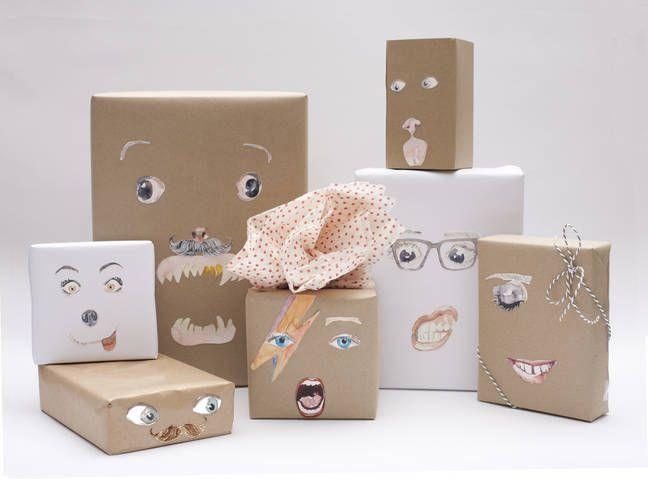 Tutorial de empaquetado de regalos con caras divertidas para imprimir gratis - Gift Wrapping tutorial and fun free printable faces
