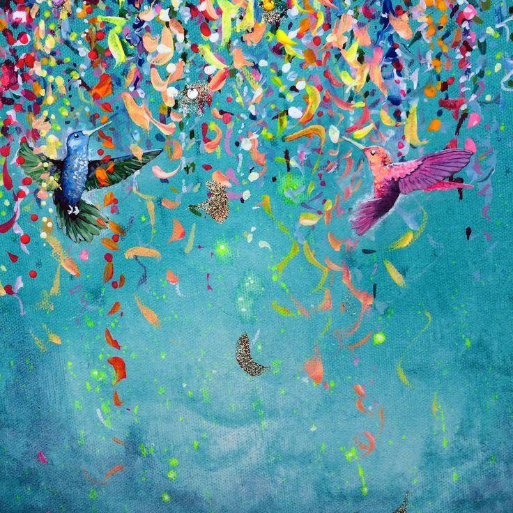 Hummingbird Painting III - SOLD! | Stephen Lursen Art. 2015. Acrylic, glitter, sequins on canvas. Bright Bold Beautiful painting.
