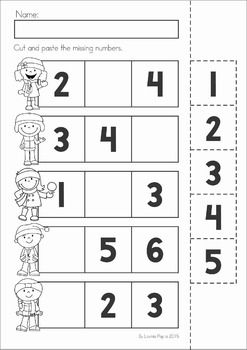 Winter Preschool Math and Literacy No Prep worksheets and activities. A page from the unit: cut and paste the numbers to complete the number sequence