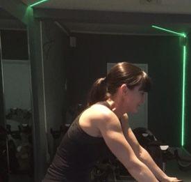 Cheryl on the bike at Go Revolution