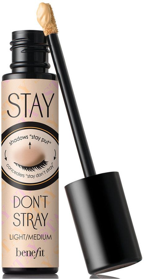 "Benefit stay don't stray eye makeup primer. ""WHAT IT DOES: This dual-action power primer works 360 degrees around the eyes to make concealers and eyeshadows stay put. Concealers don't crease, eyeshadows stay vibrant & true. Contains Sodium hyaluronate known to hydrate and Vitamins C & E, known to help fight signs of aging"""