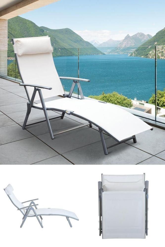 White Metal Folding Sun Lounger Hotel Pool Camping Garden Patio Sunbed Chair