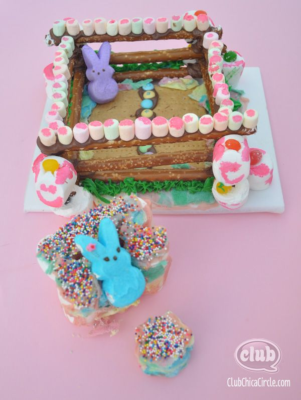 Peeps graham cracker pretzel candy Diorama house