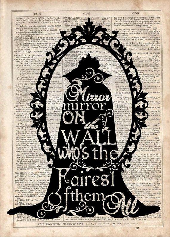 Evil Queen Dictionary Art Print Vintage por MySilhouetteShoppe
