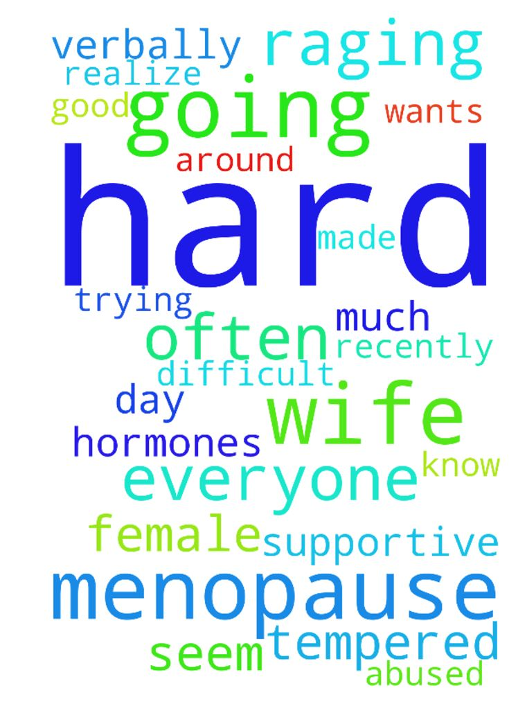 Wife Going Through Menopause -  Good day everyone. My wife recently told me she is going through Menopause and it has made it very, very difficult. She is often depressed and very, very quick tempered. She doesnt seem like she wants me around much and is very critical of me. I realize I am not a female and I know it is hard when your hormones are raging. It is just hard on me trying to be a supportive husband but at times being verbally abused.  Posted at: https://prayerrequest.com/t/BrX…
