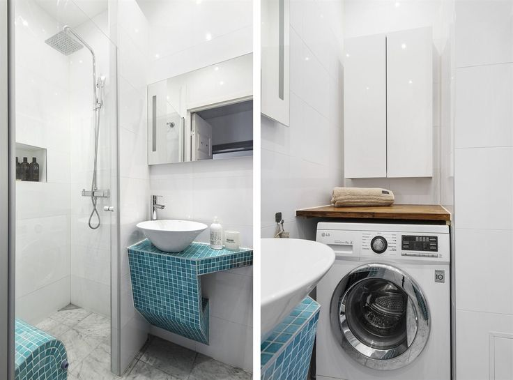 Fräscht badrum med tvättmaskin