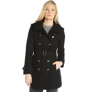 Burberry Black wool blend double breasted belted trench coat