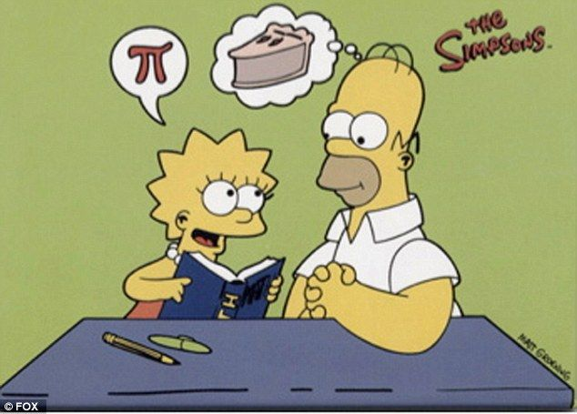 The Simpsons contains many mathematical jokes like the one above from an early episode in the series