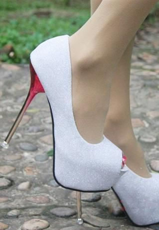 Sparkly white high heel.. beautiful white heels!!!! cleaning would be hard