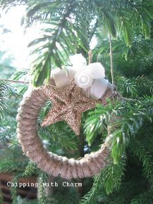 twine wreath ornaments mason jar lids repurposed, crafts, repurposing upcycling, seasonal holiday decor, wreaths