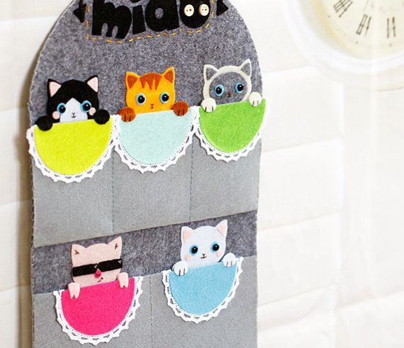 Cats / Kittens & Piggy Wall Hanging Organizer | Storage | Home Decor w/f Pockets for Mails/ Keys DIY Felt Craft DIY Kit OR Finished Product