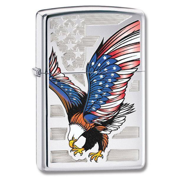 Zippo High Polish Chrome American Flag w-Bald Eagle Lighter