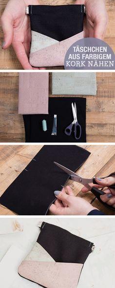 Nähanleitung: Täschchen aus farbigen Kork nähen, Handyhülle nähen / diy sewing tutorial: sewing with cork, smartphone case via DaWanda.com