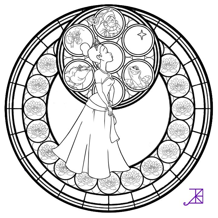 Colored Version Link Other Coloring Pages And Things To Use Tiana Stained Glass Line Art