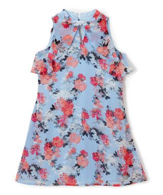 Light Blue Floral Ruffle Keyhole Dress - Girls