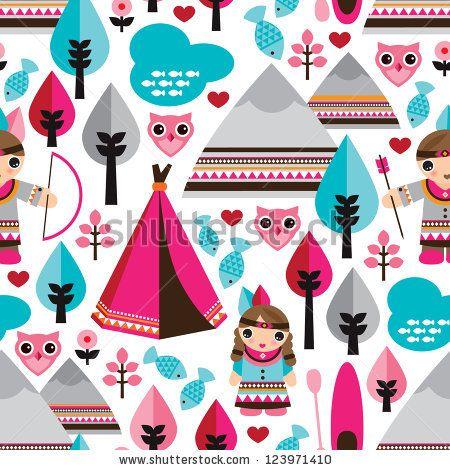 Seamless kids American indian native teepee retro owl background pattern in vector by Maaike Boot, via Shutterstock