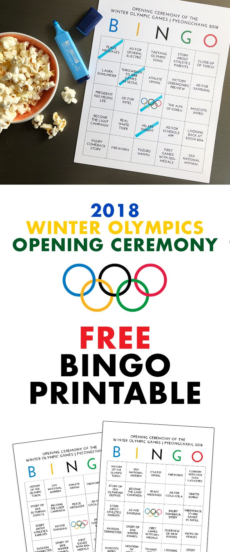 Free Bingo Printable for 2018 PyeongChang Winter Olympics Opening Ceremony | Olympics Activities for Kids | Olympics Opening Ceremony Party Ideas