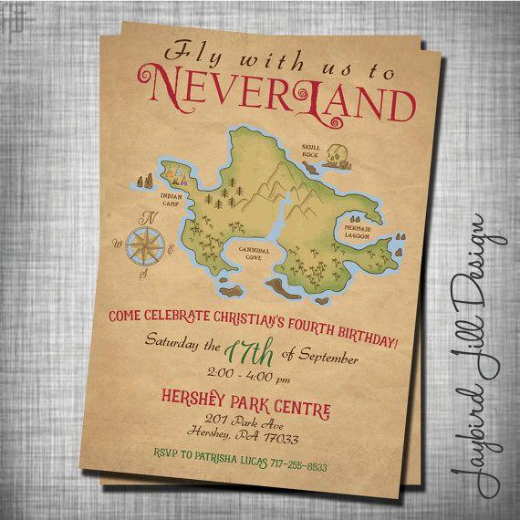 Neverland Birthday Invitation Peter Pan by JaybirdJillDesigns