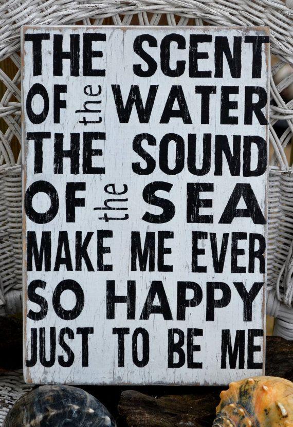 Beach Decor, Beach Art, Wall Art, Word Art, Beach House Hand Painted Wood Sign, Beach Sign, Ocean Decor, Coastal Decor, Sea via Etsy