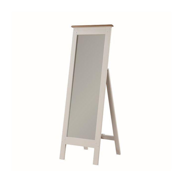 Full Length Mirror Wall Mounted Rectangular Wood Beige Frame Living Room Bedroom