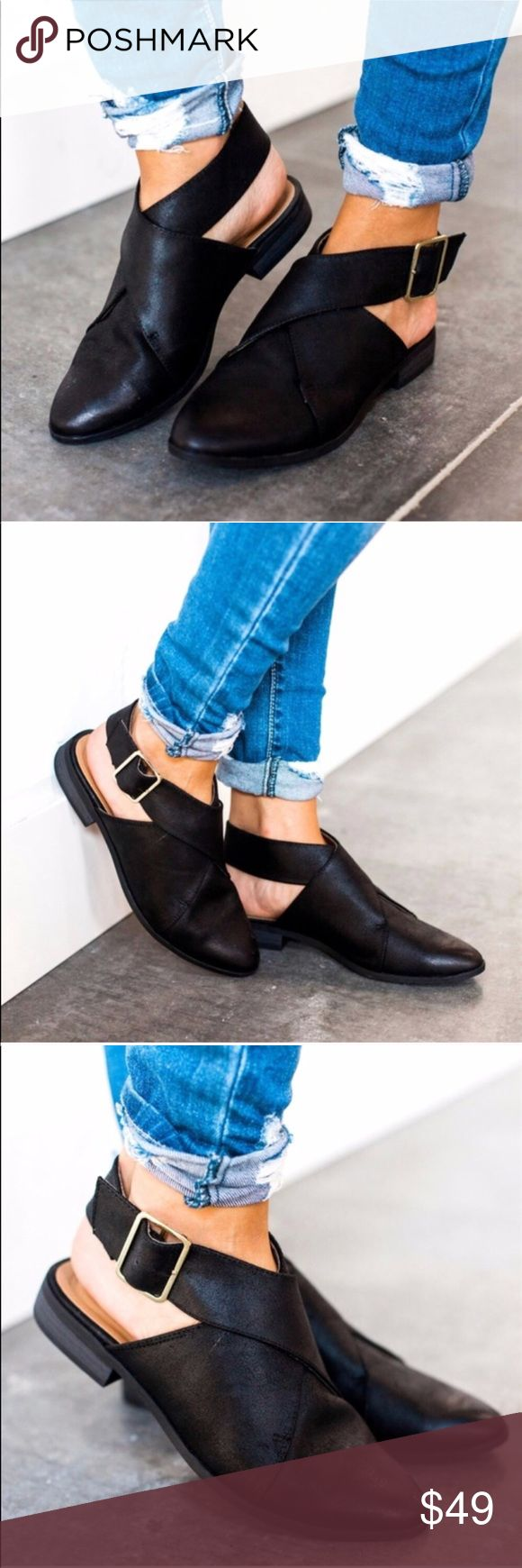 KALEY black vegan leather wrap flat bootie Super low heel flat-booties in black vegan leather  Fits true to size   ✨MAKE AN OFFER✨ WILA Shoes Flats & Loafers