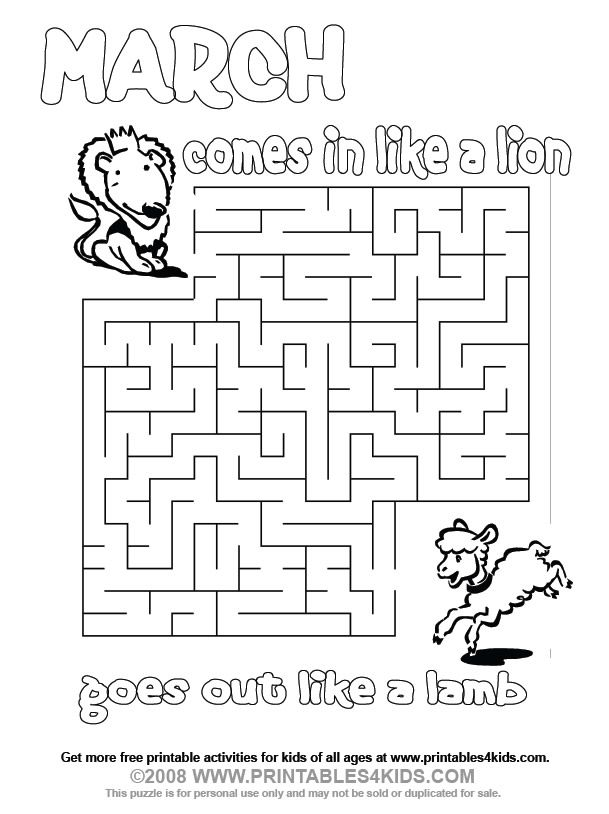March Lion And Lamb Maze Printables For Kids Free Word Search Puzzles Coloring
