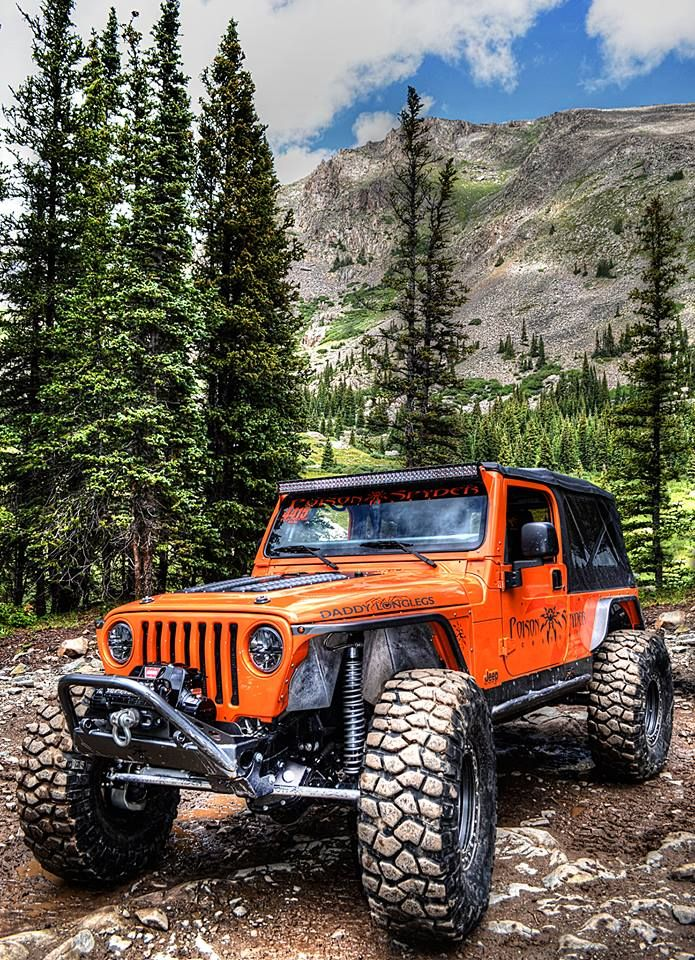 """This is my new favorite jeep because of the color, the lift, and because if you look above the wheel it says """"Daddy long legs"""" and that used to be my nickname."""