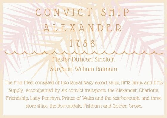The Alexander was a ship of the First Fleet to Australia in 1788. Find out more about the voyage of the Alexander at Free Settler or Felon