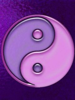 Yin-Yang: A clockwise taijitu where the violet yin is completely engulfed by the pink yang.