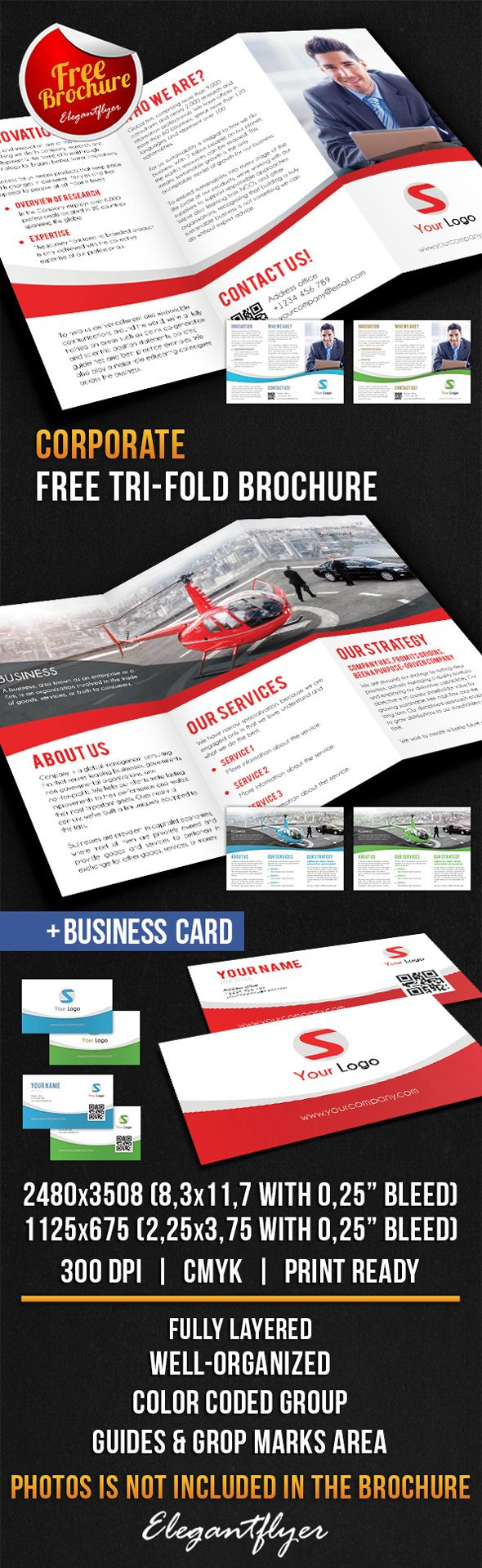 corporate tri fold brochure free psd template