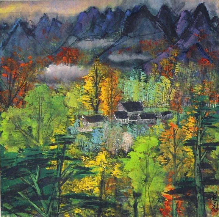 Lin Fengmian - Autumn Landscape (1977-'78) Hong Kong ...