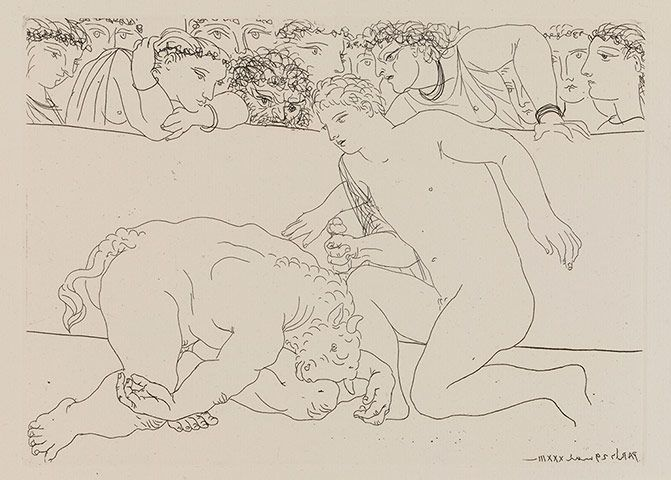 Credit: Succession Picasso/DACS 2011 Nude male stabbing neck of minotaur in an arena watched by spectators; plate 89 of the Vollard Suite, 2...