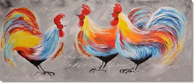 Kunstschilderij met drie gekleurde hanen.