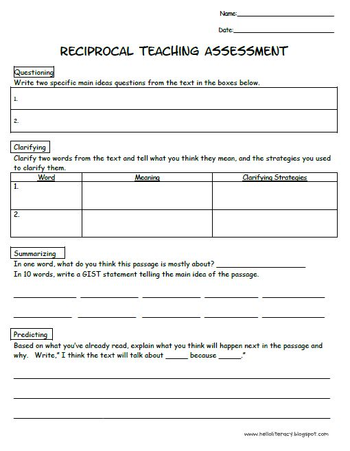 Reciprocal teaching assessment - would be  perfect for small guided reading groups.
