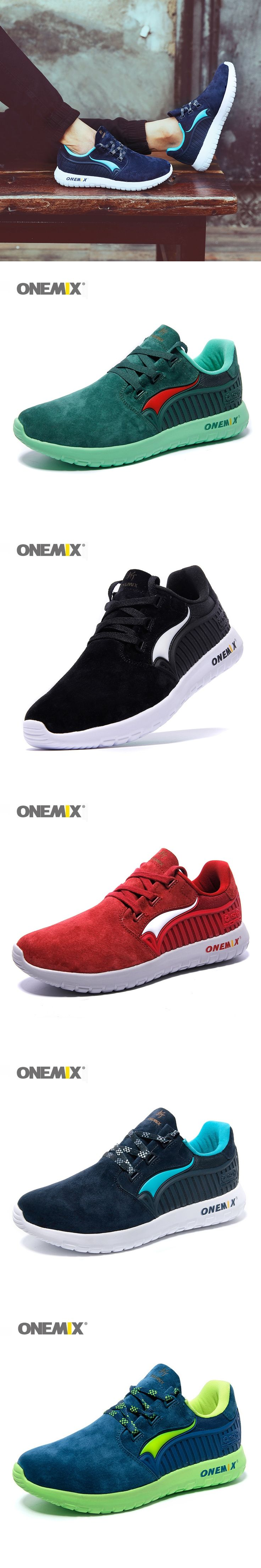 ONEMIX Men's Running Shoes Male chaussures de sport Suede Rubber Comfortable Athletic Shoes for Men Sneakers EUR Size 39-45