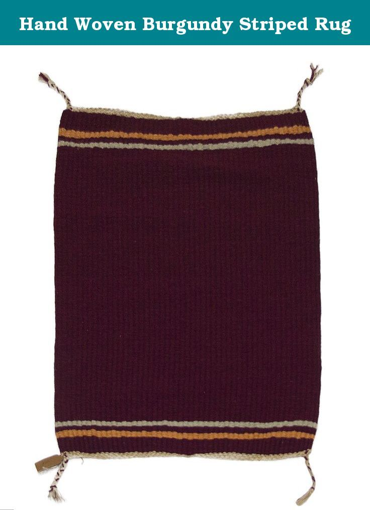 Hand Woven Burgundy Striped Rug. Handwoven burgundy rug with stripes of salmon and silver. Identical stripes at each end of the rug.