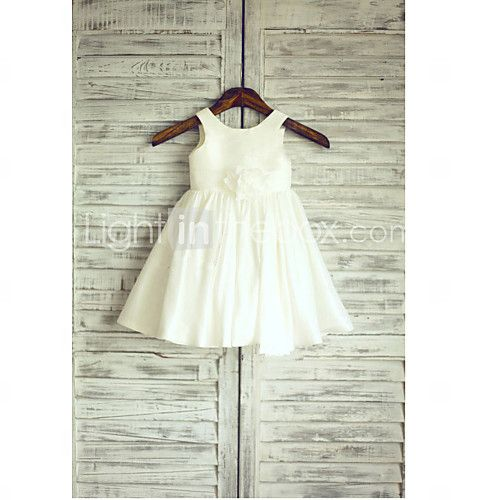 A-line Tea-length Flower Girl Dress - Taffeta Sleeveless Jewel with 2016 - kr.377