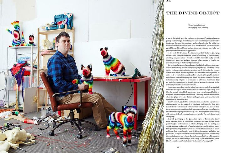 Troy Emery in his studio with his fantastical creatures!