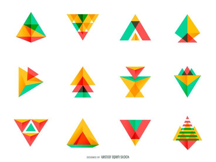 Bright triangle logo set                                                                                                                                                     More