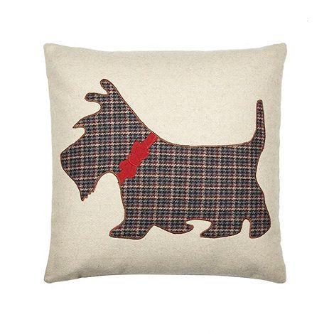 Debenhams Natural applique Scotty dog cushion- at Debenhams.com