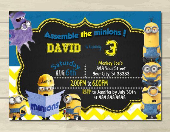 The 25 best minion birthday invitations ideas on pinterest minion birthday invitationsconstruction birthdayminion construction 5x7 printed or digital file stopboris Gallery