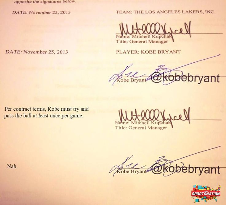 Did anyone read the end of Kobe Bryant's new contract?