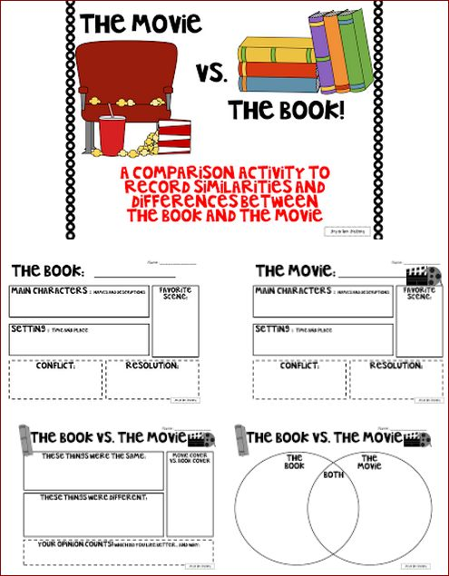 Free - Here's a really fantastic collection of graphic organizers that were created specifically for comparing books to movies. #books #reading