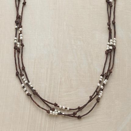 "THREE-BEAD LINEN NECKLACE - waxed brown linen and thai silver beads - around 24"" in length   $98"
